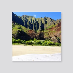 "Kalalau Beach Kauai Square Sticker 3"" x 3"""