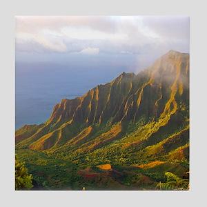 Kalalau Valley Sunset Tile Coaster