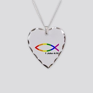 God is Love Jesus fish Necklace Heart Charm