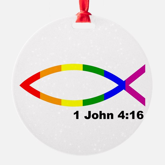 God is Love Jesus fish Ornament