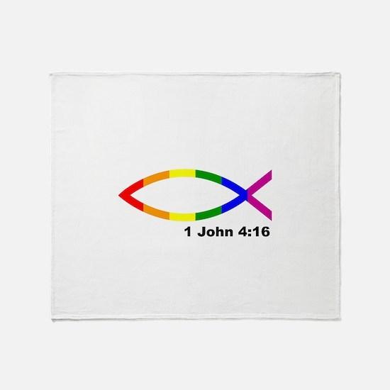 God is Love Jesus fish Throw Blanket