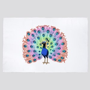 Colorful Peacock 4' x 6' Rug
