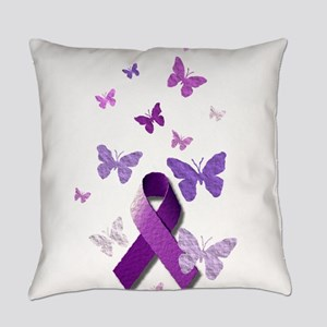 Purple Awareness Ribbon Everyday Pillow