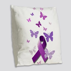 Purple Awareness Ribbon Burlap Throw Pillow
