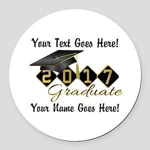 Graduate Black 2017 Round Car Magnet