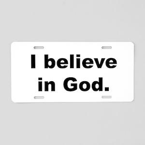 Back_believeinGod Aluminum License Plate