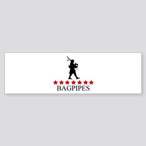 Bagpipes (red stars) Bumper Sticker