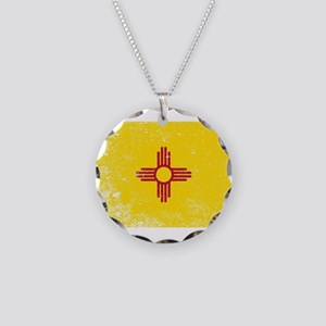 New Mexico State Flag Grunge Necklace Circle Charm
