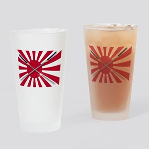 Japanese Flag and Swords Drinking Glass
