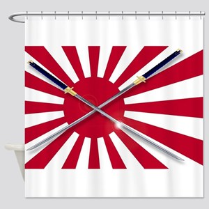 Japanese Flag and Swords Shower Curtain