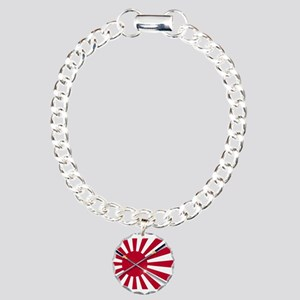 Japanese Flag and Swords Charm Bracelet, One Charm