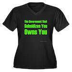 Gov't Owns Women's Plus Size V-Neck Dark T-Shirt