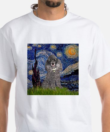Starry Night Silver Poodle T-Shirt