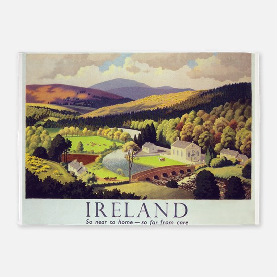Ireland Vintage Travel Poster 5'x7'Area Rug