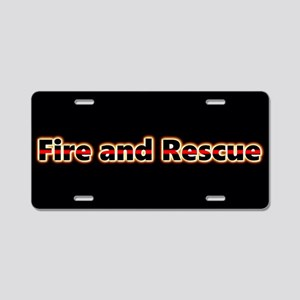 Fire And Rescue Glow Aluminum License Plate