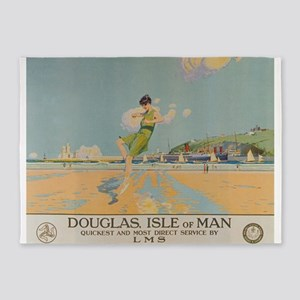 Douglas Isle Of Man Vintage Travel 5'x7'ar