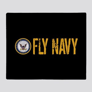 U.S. Navy: Fly Navy (Black) Throw Blanket