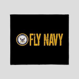 U.S. Navy: Fly Navy (Black) Throw Blanket
