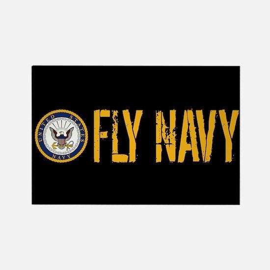 U.S. Navy: Fly Navy (Black) Rectangle Magnet