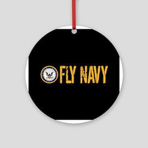 U.S. Navy: Fly Navy (Black) Round Ornament