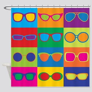 Sunglasses Checkerboard Shower Curtain