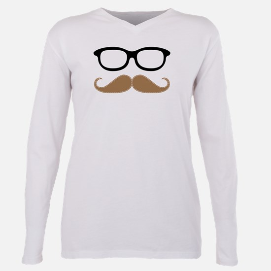 Mustache and Glasses Plus Size Long Sleeve Tee