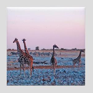 Giraffes at Dusk Tile Coaster