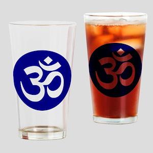 Navy Om Symbol Mandala Drinking Glass