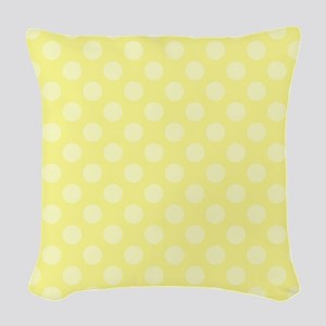 Two Tone Yellow Polka Dots Woven Throw Pillow