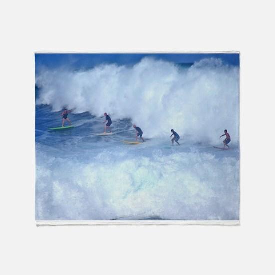 Waimea Bay Surfers Hawaii Throw Blanket
