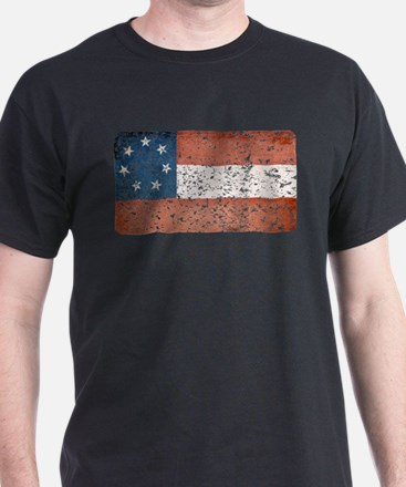 Discrete Distressed Stars Bars Flag T-Shirt