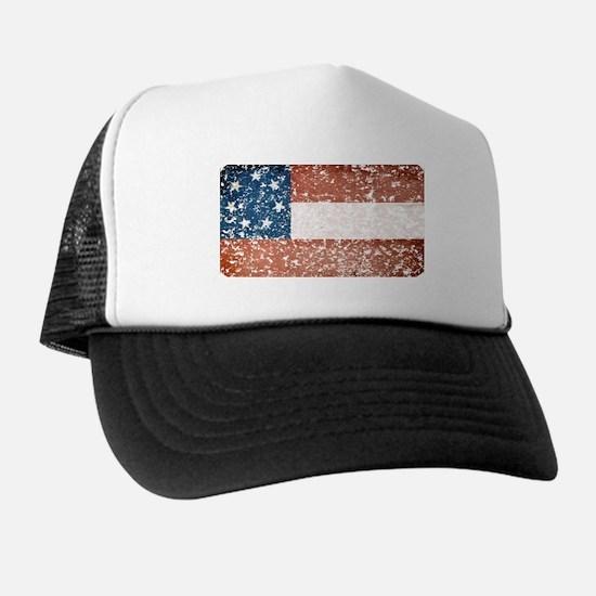 Discrete Distressed Stars Bars Flag Trucker Hat