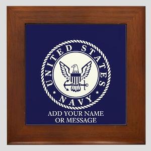 PERSONALIZED US Navy Blue White Framed Tile