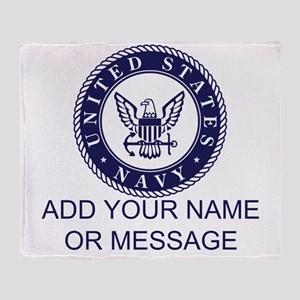 PERSONALIZED US Navy Blue White Throw Blanket