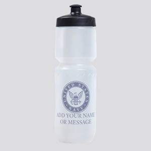 PERSONALIZED US Navy Blue White Sports Bottle