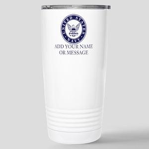 PERSONALIZED US Navy Blue White Travel Mug