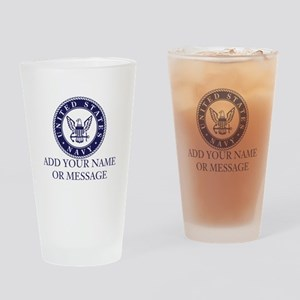 PERSONALIZED US Navy Blue White Drinking Glass
