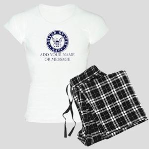 PERSONALIZED US Navy Blue White Pajamas