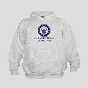 PERSONALIZED US Navy Blue White Hoodie