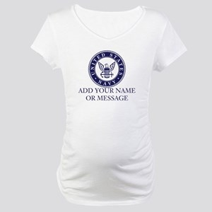 PERSONALIZED US Navy Blue White Maternity T-Shirt