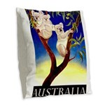 Australia Travel and Tourism Print Burlap Throw Pi