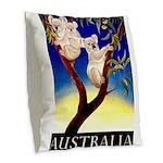 Australia Travel and Tourism Print Burlap Throw Pi