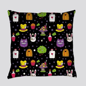 black Wonderland Everyday Pillow