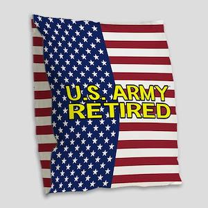 U.S. Army: Retired (American Flag) Burlap Throw Pi