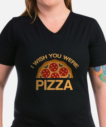I Wish You Were Pizza Women's Dark T-Shirt