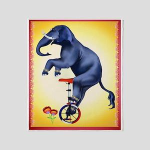 Elephant-Unicycle Throw Blanket