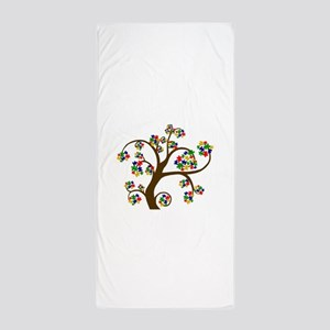 Puzzled Tree of Life Beach Towel