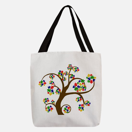 Puzzled Tree of Life Polyester Tote Bag