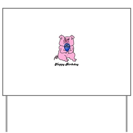 HAPPY BIRTHDAY PIG HOLDING BALLOON Yard Sign By Babytalkgifts