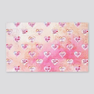Vintage Pink Hearts with Love Words Area Rug